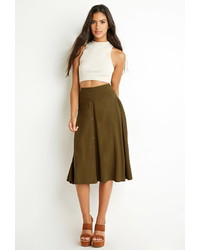 Forever 21 Button Front A Line Skirt
