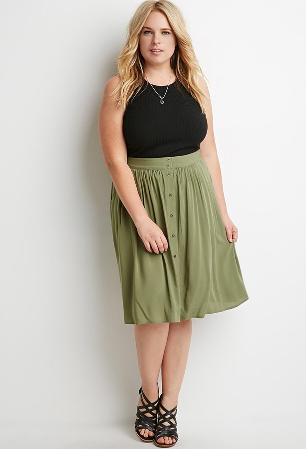 Forever 21 Plus Size Buttoned A Line Skirt | Where to buy & how to ...