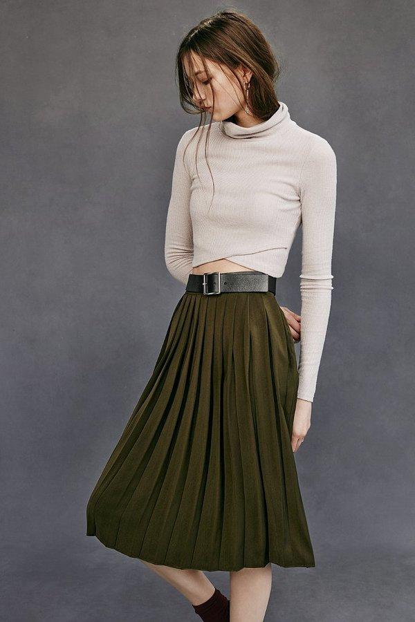 Silence & Noise Silence Noise Silky Pleated Midi Skirt | Where to ...