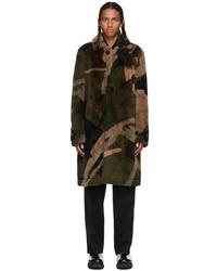Sacai Green Kaws Edition Faux Fur Camo Coat