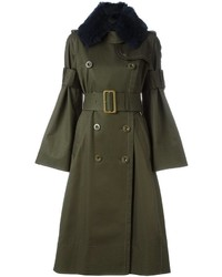 Olive Fur Collar Coat