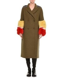Double breasted military coat with fur cuffs medium 6870165