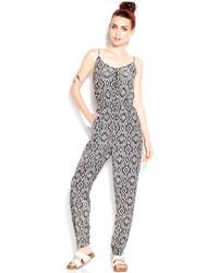 Bar iii zip front tribal print straight leg jumpsuit medium 123800