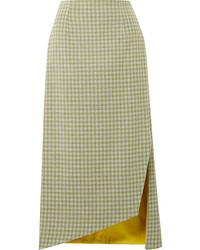 Silvia Tcherassi Bea Gingham Woven Midi Skirt