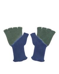 The Elder Statesman Green And Blue Hot Fingerless Gloves