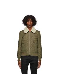 Saint Laurent Khaki Shearling Collar Aviator Jacket