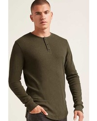 21men 21 Ribbed Knit Henley Tee