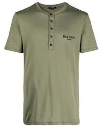 Balmain Logo Print Button Placket T Shirt