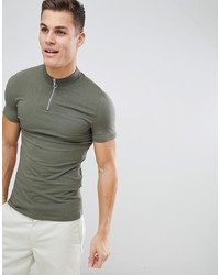 ASOS DESIGN Muscle Fit Zip Neck Turtle Neck T Shirt In Green