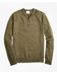 Brooks Brothers Cotton Linen Henley Sweater