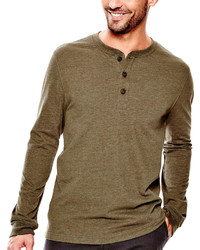 St Johns Bay St Johns Bay Long Sleeve Solid Sueded Henley