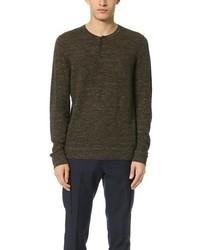 Vince Wool Linen Jaspe Henley Sweater