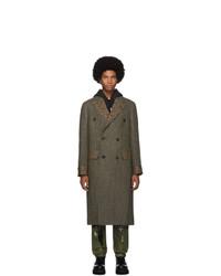 R13 Green Herringbone Double Breasted Coat