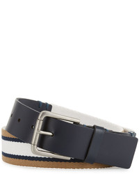Original Penguin Striped Canvas Leather Belt Pale Khaki
