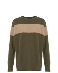 Olive Horizontal Striped Crew-neck Sweater