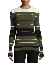 Opening Ceremony Striped Ribbed Crewneck Pullover Sweater Olive