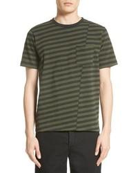 Olive Horizontal Striped Crew-neck T-shirt