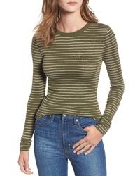 Olive Horizontal Striped Long Sleeve T-shirt