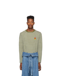 AMI Alexandre Mattiussi Green And White Striped Smiley Edition Long Sleeve T Shirt