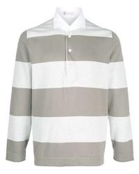Brunello Cucinelli Striped Long Sleeve Polo Shirt