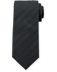 Giorgio Armani Tonal Herringbone Striped Silk Tie