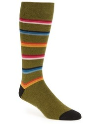Olive Horizontal Striped Socks