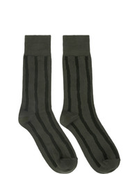 Issey Miyake Men Khaki And Black Stripe Socks