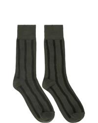 Issey Miyake Men Khaki And Black Stripe Socks