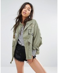 Boohoo Badge Canvas Jacket