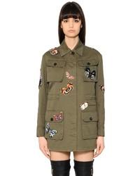 Valentino Butterfly Patches Gabardine Field Jacket