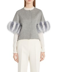 Fendi Cashmere Genuine Fox Fur Jacket