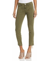 Hudson Nico Lace Up Cropped Skinny Pants In Crushed Olive