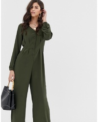 Vila Button Through Wideleg Jumpsuit