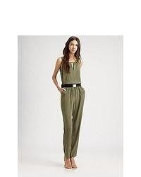 Sachin + Babi Stretch Silk Sorrento Jumpsuit Olive
