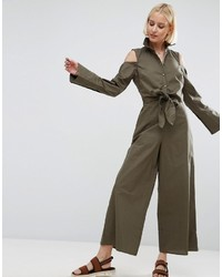 Asos Shirt Jumpsuit With Tie Front Detail And Cold Shoulder