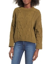 J.o.a. Boxy Cable Knit Sweater