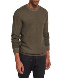 Ermenegildo Zegna Waffle Knit Crewneck Sweater Olive