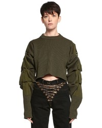 Y/Project Transformer Cropped Wool Knit Sweater