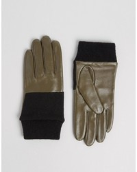 Asos Leather And Knit Mix Gloves