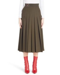 Fendi Logo Band Pleated Skirt