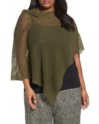 Eileen Fisher Plus Size Organic Linen Mesh Knit Poncho