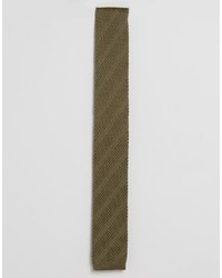 Asos Knitted Tie In Khaki Texture