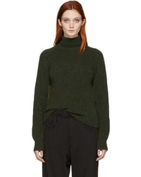 Haider Ackermann Green Rib Knit Turtleneck
