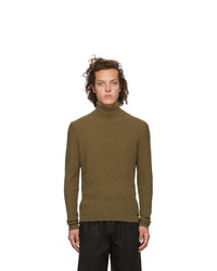 Hugo Khaki Wool Sblock Turtleneck