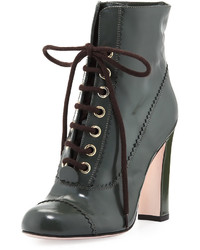 RED Valentino Leather Lace Up 100mm Bootie Army Green