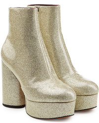 Marc Jacobs Leather Platform Ankle Boots With Glitter