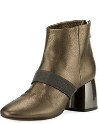 Brunello Cucinelli Metallic Zip Back Block Heel Bootie