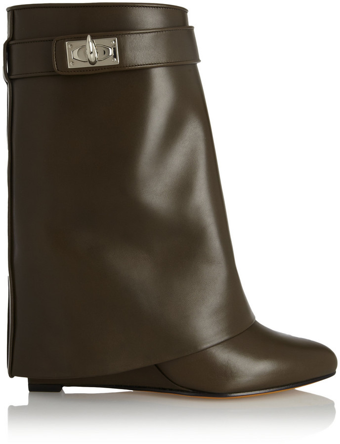 Givenchy Shark Lock Army Green Leather Wedge Ankle Boots