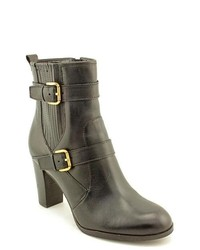 Tahari Robyn Black Leather Fashion Ankle Boots