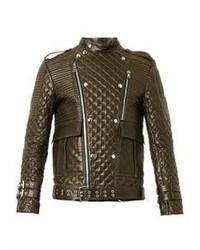 Olive Leather Biker Jacket
